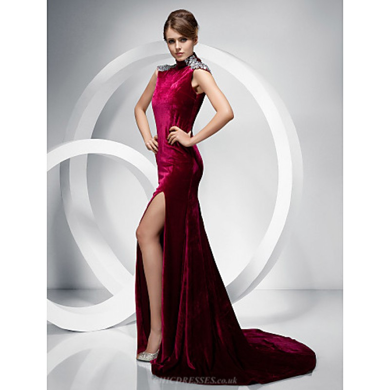 fa7f2855d63 ... TS Couture Formal Evening Dress - Burgundy Plus Sizes   Petite Trumpet Mermaid  High Neck ...