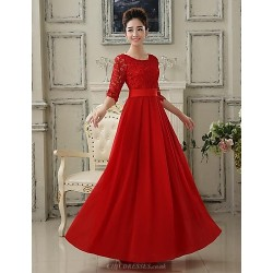 Formal Evening Dress Ruby Plus Sizes A Line Scoop Floor Length Lace Georgette
