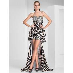 Prom Formal Evening Dress Multi Color Plus Sizes Petite Sheath Column Strapless Sweetheart Short Mini Asymmetrical Polyester