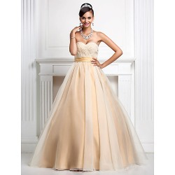 Prom / Formal Evening / Quinceanera / Sweet 16 Dress - Champagne Plus Sizes / Petite Ball Gown / Princess Sweetheart / Strapless