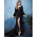 Formal Evening Dress - Black Trumpet/Mermaid V-neck Court Train Lace / Satin Chiffon Special Occasion Dresses