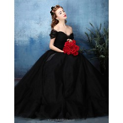 Formal Evening Dress Jade Black A Line Off The Shoulder Floor Length Tulle Charmeuse