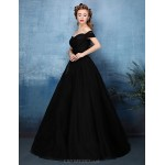 Formal Evening Dress - Jade / Black A-line Off-the-shoulder Floor-length Tulle / Charmeuse Special Occasion Dresses