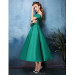 Cocktail Party Dress - Jade / Black A-line Off-the-shoulder Tea-length Polyester / Satin Chiffon Special Occasion Dresses