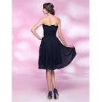 Cocktail Party Dress - Dark Navy Plus Sizes / Petite A-line / Princess Strapless Knee-length Chiffon Special Occasion Dresses