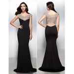 TS Couture Formal Evening Dress - Black Trumpet/Mermaid V-neck Sweep/Brush Train Jersey Special Occasion Dresses