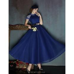 Dress Ruby Dark Navy Ball Gown High Neck Tea Length Spandex