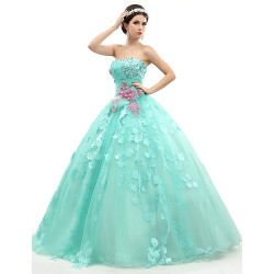 Formal Evening Dress Jade Petite Ball Gown Strapless Floor Length Organza Tulle Charmeuse