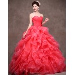 Formal Evening Dress - Pool / Watermelon Petite Ball Gown Sweetheart Chapel Train Satin / Tulle / Polyester Special Occasion Dresses