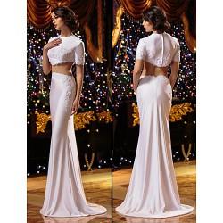 Trumpet Mermaid Wedding Dress White Sweep Brush Train Jewel Knit