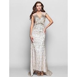 Formal Evening Military Ball Dress Silver Plus Sizes Petite A Line Princess V Neck Asymmetrical Tulle Sequined