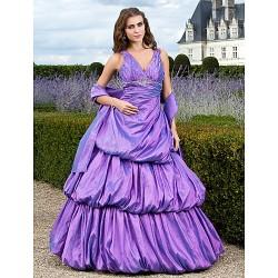 Prom Formal Evening Quinceanera Sweet 16 Dress Lilac Plus Sizes Petite Ball Gown A Line Princess V Neck Floor Length Taffeta
