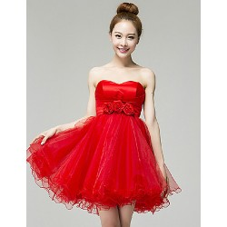 Cocktail Party Dress Ruby Champagne Petite Ball Gown Ankle Length Organza