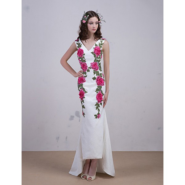 Cocktail Party / Formal Evening Dress - Ivory Trumpet/Mermaid V-neck Sweep/Brush Train Satin Special Occasion Dresses