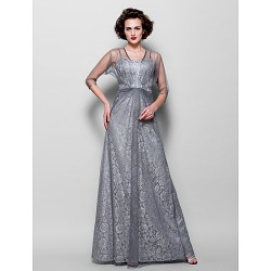 A Line Plus Sizes Petite Mother Of The Bride Dress Silver Floor Length 3 4 Length Sleeve Tulle Lace