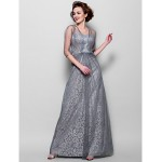 A-line Plus Sizes / Petite Mother of the Bride Dress - Silver Floor-length 3/4 Length Sleeve Tulle / Lace Mother Of The Bride Dresses