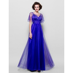 A-line Plus Sizes / Petite Mother of the Bride Dress - Regency Floor-length Short Sleeve Tulle