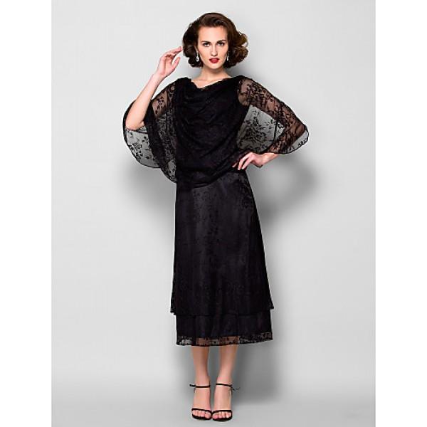 Sheath/Column Plus Sizes / Petite Mother of the Bride Dress - Black Tea-length Half Sleeve Lace Mother Of The Bride Dresses
