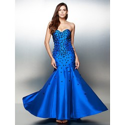 Formal Evening Dress Pool Trumpet Mermaid Sweetheart Floor Length Satin