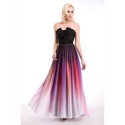 Cocktail Party / Formal Evening Dress - Multi-color Ball Gown Notched Floor-length Chiffon