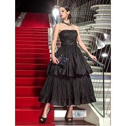 Formal Evening Military Ball Dress Black Plus Sizes Petite A Line Strapless Tea Length Taffeta