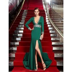 Formal Evening Dress Dark Green Plus Sizes Petite Sheath Column V Neck Sweep Brush Train Jersey