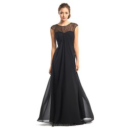 Formal Evening Dress - Black A-line Jewel Floor-length Chiffon