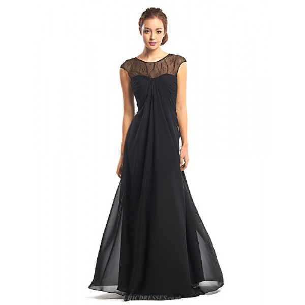 TS Couture Formal Evening Dress - Black A-line Jewel Floor-length Chiffon Special Occasion Dresses