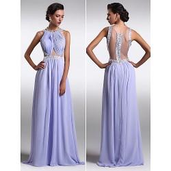 Formal Evening Dress - Lavender Plus Sizes / Petite Sheath/Column Scoop Floor-length Chiffon