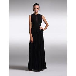 Formal Evening Dress Black Plus Sizes Petite Sheath Column Jewel Floor Length Chiffon
