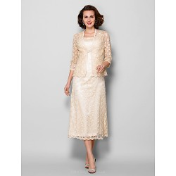 Sheath/Column Plus Sizes / Petite Mother of the Bride Dress - Champagne Tea-length 3/4 Length Sleeve Lace