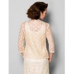 Sheath/Column Plus Sizes / Petite Mother of the Bride Dress - Champagne Tea-length 3/4 Length Sleeve Lace Mother Of The Bride Dresses