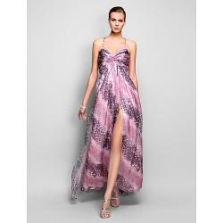 Formal Evening Prom Military Ball Dress Print Plus Sizes Petite A Line Princess Spaghetti Straps Floor Length Chiffon