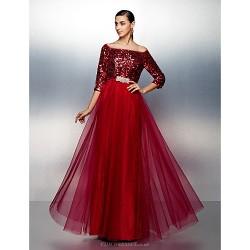 Dress Burgundy Plus Sizes Petite A Line Bateau Floor Length Tulle Sequined