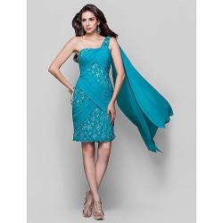 Cocktail Party Dress Jade Plus Sizes Petite Sheath Column One Shoulder Knee Length Chiffon Lace