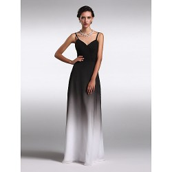 Formal Evening Dress Multi Color Plus Sizes Petite Sheath Column Spaghetti Straps Floor Length Chiffon