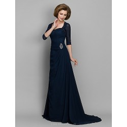 A Line Mother Of The Bride Dress Dark Navy Sweep Brush Train 3 4 Length Sleeve Chiffon