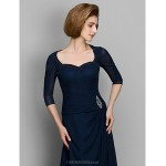 A-line Mother of the Bride Dress - Dark Navy Sweep/Brush Train 3/4 Length Sleeve Chiffon Mother Of The Bride Dresses