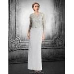 Sheath/Column Petite Mother of the Bride Dress - Silver Floor-length Lace Mother Of The Bride Dresses