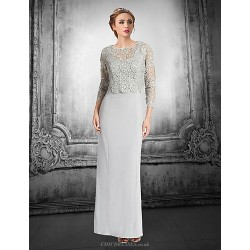 Sheath Column Petite Mother Of The Bride Dress Silver Floor Length Lace