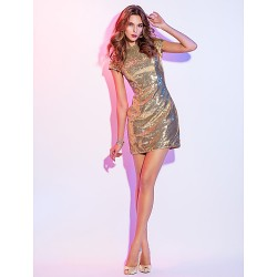 Cocktail Party Holiday Dress Gold Plus Sizes Petite Sheath Column Scoop Short Mini Sequined