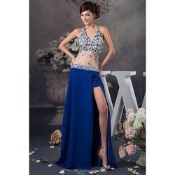 Formal Evening Dress - Royal Blue Petite A-line Halter Floor-length Satin / Tulle