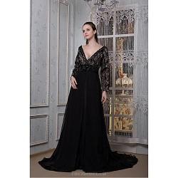 Formal Evening Dress Black Plus Sizes Petite A Line V Neck Sweep Brush Train Chiffon