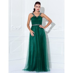 Formal Evening / Prom / Military Ball Dress - Dark Green Plus Sizes / Petite Sheath/Column Halter / Straps Floor-length Tulle