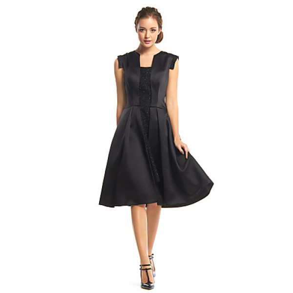 Cocktail Party Dress - Black A-line Square Knee-length Satin Special Occasion Dresses