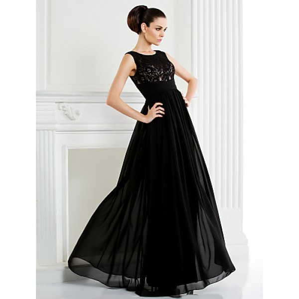 A-line Plus Sizes / Petite Mother of the Bride Dress - Black Floor-length Sleeveless Chiffon / Lace Mother Of The Bride Dresses