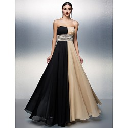 Formal Evening Dress - Multi-color Plus Sizes / Petite A-line Strapless Floor-length Chiffon