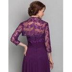 A-line Plus Sizes / Petite Mother of the Bride Dress - Grape Floor-length 3/4 Length Sleeve Chiffon / Lace Mother Of The Bride Dresses