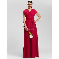 Floor Length Chiffon Bridesmaid Dress Burgundy Plus Sizes Petite Sheath Column Cowl