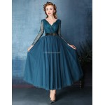 Cocktail Party Dress - Blushing Pink / Ocean Blue A-line V-neck Tea-length Lace / Tulle Special Occasion Dresses